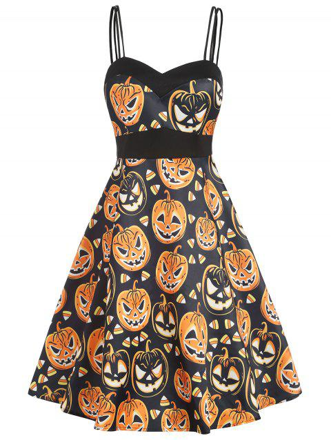 Double Straps High Waist Halloween Pumpkin Dress - multicolor 2XL