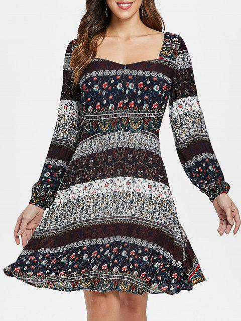 Bohemian Sweetheart Neck Floral Print Dress - multicolor L