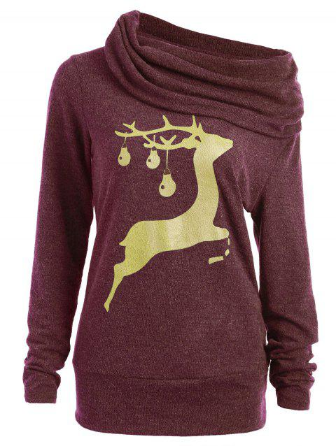 Sweat-shirt à Col Bénitier Imprimé Cerf - Rouge vineux XL