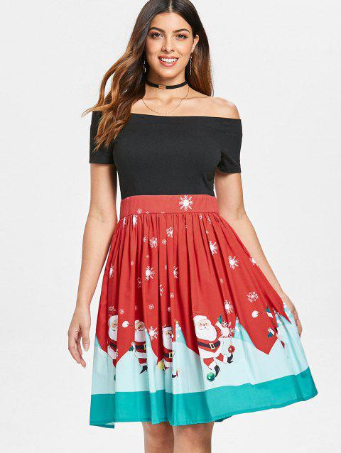 Christmas Swing Dress.Christmas Off The Shoulder Swing Dress