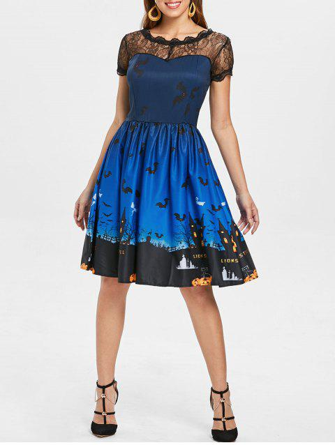 Halloween Vintage Lace Insert Pin Up Dress - BLUE S