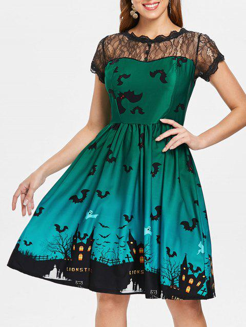 Halloween Vintage Lace Insert Pin Up Dress - GREEN 2XL