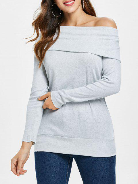 Multiway Off The Shoulder T-Shirt - GRAY XL