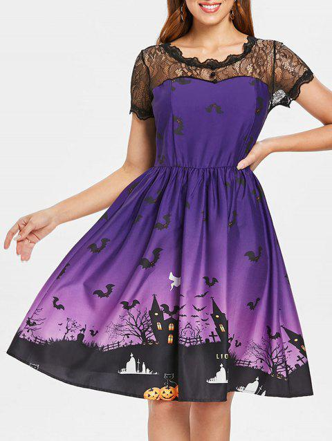 Halloween Vintage Lace Insert Pin Up Dress - PURPLE L