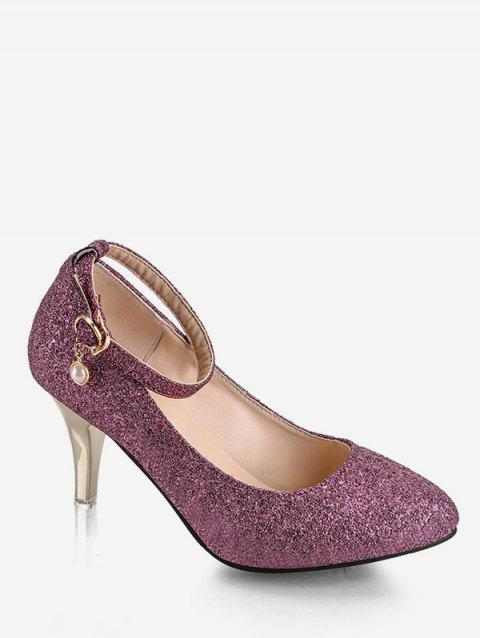 Plus Size Pointed Toe Sequins Ankle Strap Pumps - PURPLE 38