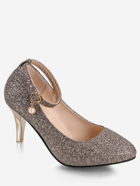 Plus Size Pointed Toe Sequins Ankle Strap Pumps - CHAMPAGNE GOLD 39