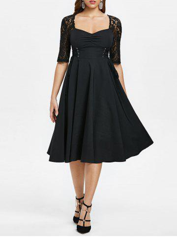 afcc9135259 Criss Cross Lace Sleeve Retro Flare Dress