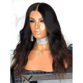Middle Part Colormix Natural Wavy Long Synthetic Wig - multicolor
