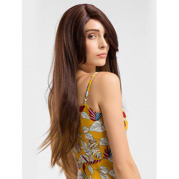 Long Side Parting Colormix Straight Lace Front Synthetic Party Wig - multicolor