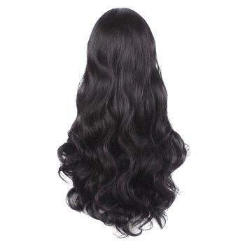 Long Side Parting Wavy Synthetic Party Cosplay Wig - BLACK