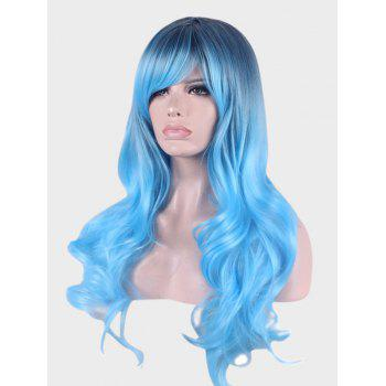 Long Inclined Bang Colormix Wavy Synthetic Party Cosplay Wig - DEEP SKY BLUE