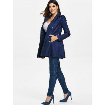 Fit and Flare Double Breasted Coat - CADETBLUE M