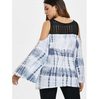 Hollow Out Yoke Tie Dye Top - LIGHT GRAY M