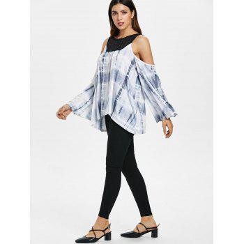 Hollow Out Yoke Tie Dye Top - LIGHT GRAY 2XL