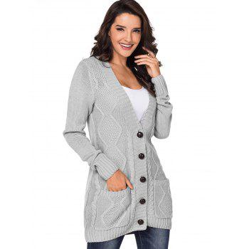 Button Up Front Pockets Cardigan - LIGHT GRAY S