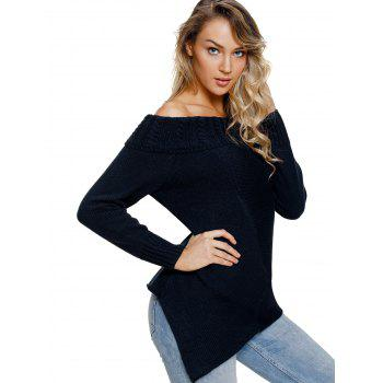 Cable Knit Off The Shoulder Sweater - MIDNIGHT BLUE M