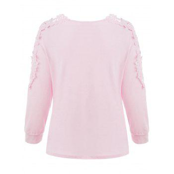 V Neck Lace Detail Top - LIGHT PINK M