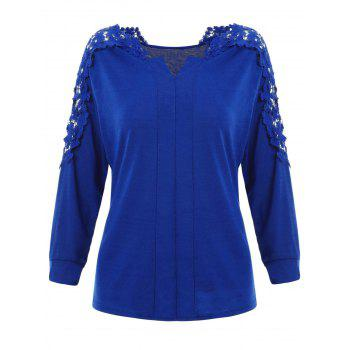 V Neck Lace Detail Top - ROYAL BLUE XL