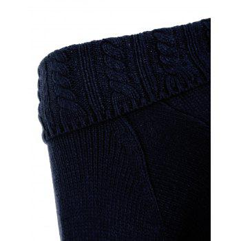 Cable Knit Off The Shoulder Sweater - MIDNIGHT BLUE L