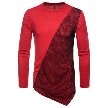 Asymmetric Mesh Panel Round Neck T-shirt - RED WINE L