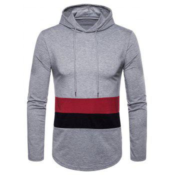 Drawstring Arc Hem Panel Hoodie - GRAY CLOUD M