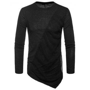 Asymmetric Mesh Panel Round Neck T-shirt - BLACK M