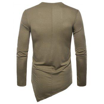 Asymmetric Mesh Panel Round Neck T-shirt - DARK KHAKI XL