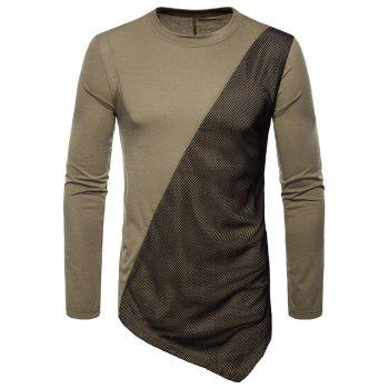 Asymmetric Mesh Panel Round Neck T-shirt - DARK KHAKI L