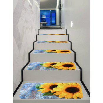 Sunflower Printed Decorative Stair Floor Rugs - multicolor 5PCS:28*9 INCH