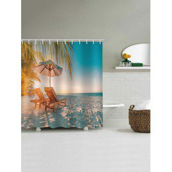 Beach Chair Print Waterproof Shower Curtain - multicolor W65 INCH * L71 INCH