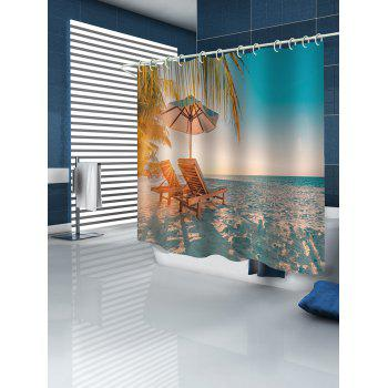 Beach Chair Print Waterproof Shower Curtain - multicolor W71 INCH * L71 INCH