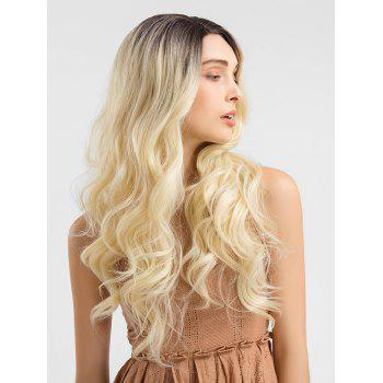 Long Colormix Wavy Lace Front Synthetic Party Wig - multicolor