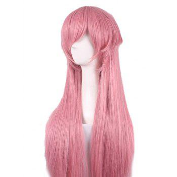 Anime Future Journal Mirai Nikki Cosplay Perruque synthétique droite longue couche - Rose