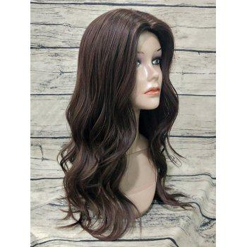 Middle Part Long Wavy Capless Heat Resistant Synthetic Wig - BROWN
