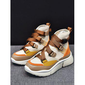 Color Block Fashion High Top Sneakers - BROWN 37