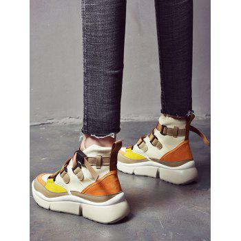 Color Block Fashion High Top Sneakers - BROWN 39