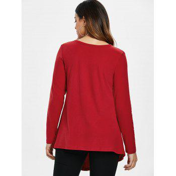 Button Embellished Asymmetrical T-shirt - LAVA RED L
