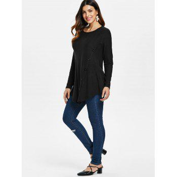 Button Embellished Asymmetrical T-shirt - BLACK M