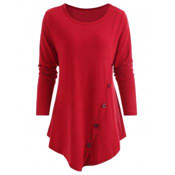 Button Embellished Asymmetrical T-shirt - LAVA RED XL
