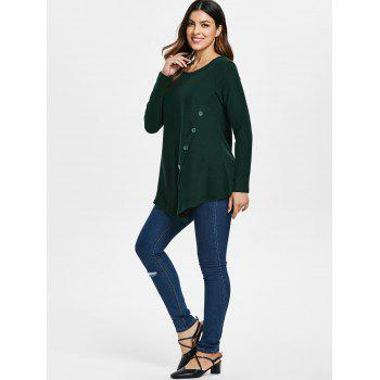 Button Embellished Asymmetrical T-shirt - ARMY GREEN L