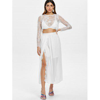 Lace Crop Top and High Waist Skirt - WHITE L