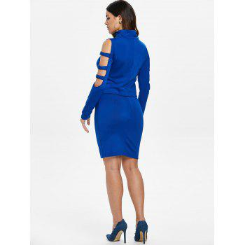Ladder Cut Out Sleeve Top and Mini Skirt - BLUE M