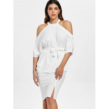 Open Shoulder Top and Bodycon Knee Length Skirt - WHITE L