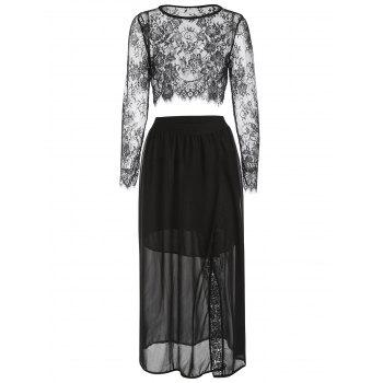 Lace Crop Top and High Waist Skirt - BLACK L