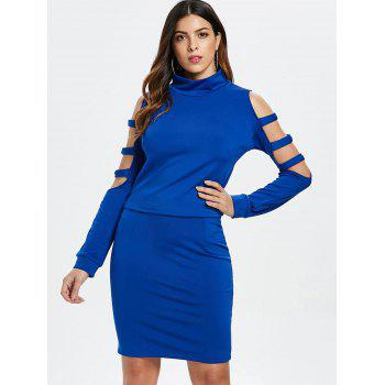Ladder Cut Out Sleeve Top and Mini Skirt - BLUE L