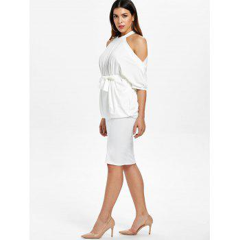 Open Shoulder Top and Bodycon Knee Length Skirt - WHITE M
