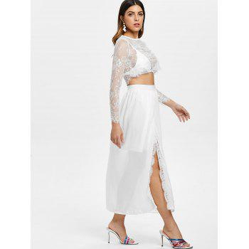 Lace Crop Top and High Waist Skirt - WHITE M