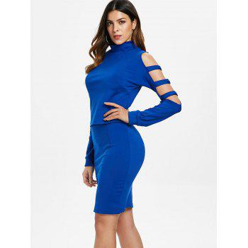 Ladder Cut Out Sleeve Top and Mini Skirt - BLUE XL