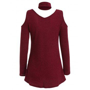 V Neck Cold Shoulder Tunic Top - RED WINE M
