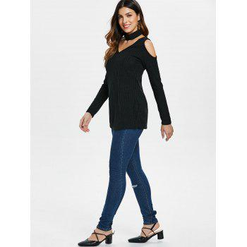V Neck Cold Shoulder Tunic Top - BLACK M